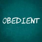 OBEDIENT written on chalkboard — Fotografia Stock