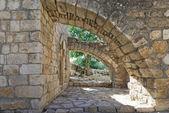 Ruins and details Crusader fortress — Foto Stock