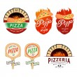 Vintage pizzeria labels, badges, design elements — Stock Vector #52275373