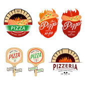 Vintage pizzeria labels, badges, design elements — Stockvektor