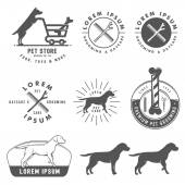 Set of retro pet care labels, badges and design elements — Stock Vector