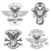 Set of retro motorcycle labels, badges and design elements — Stock Vector