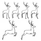 Christmas reindeer in different poses — Stock Vector