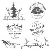 PrintVintage Christmas labels, badges and design elements — Stock Vector