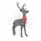 Vintage Christmas greeting card with reindeer — Stock Vector