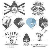 Set of retro ski emblems, badges and design elements — Stock Vector