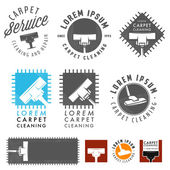 Set of retro carpet cleaning labels, emblems and design elements — Stock Vector