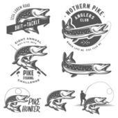 Vintage pike fishing emblems, labels and design elements — Stock Vector