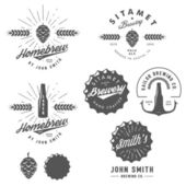 Vintage craft beer brewery emblems, labels and design elements — Stock Vector