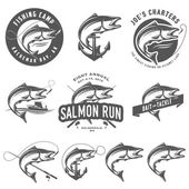 Vintage salmon fishing emblems and design elements — Stock Vector
