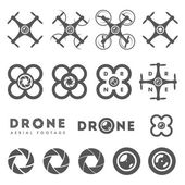 Set of aerial drone footage emblems and icons — Stock Vector