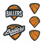 Set of basketball team emblem backgrounds — Stock Vector