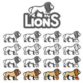 Lion mascot in different styles for sport emblems — Stock Vector