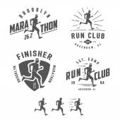 Set of vintage running club labels, emblems and design elements — Stock Vector