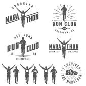 Set of vintage run club labels, emblems and design elements — Stock Vector