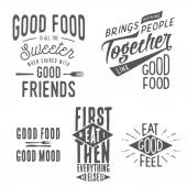 Vintage food related typographic quotes — Stock Vector