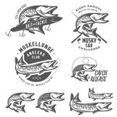 Set of muskellunge musky fishing design elements — Vector de stock