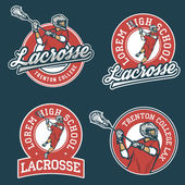 Set of lacrosse team emblems — Stock Vector