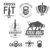 Set of vintage fitness emblems and design elements — Stock Vector