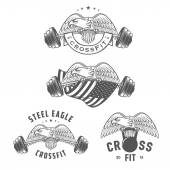 Set of vintage crossfit emblems and design elements — Stock Vector