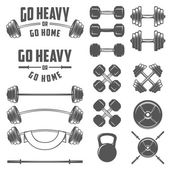 Set of vintage gym equipment, quotes and design elements — Stock Vector