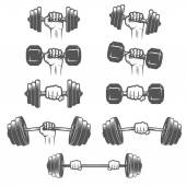 Set of vintage hands with dumbbells — Stock Vector