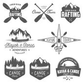 Set of kayak and canoe emblems, badges and design elements — Stock Vector