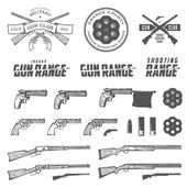 Set of retro weapons labels, emblems and design elements — Stock Vector