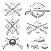 Set of vintage clay target and gun club labels, emblems and design elements — Stock Vector