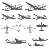 Vintage airplanes from different angles — Stock Vector