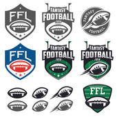American football fantasy league labels, emblems and design elements — Stock Vector