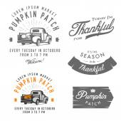 Set of vintage Thanksgiving Day emblems, signs and design elements — Stock Vector