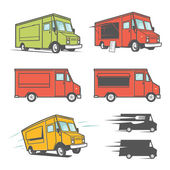 Set of food trucks from various angles, icons and design elements — Stock Vector
