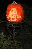 Ann B Davis Carved on Pumpkin — Stock Photo