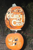 Candy Crush Carved on Pumpkin — Stock Photo