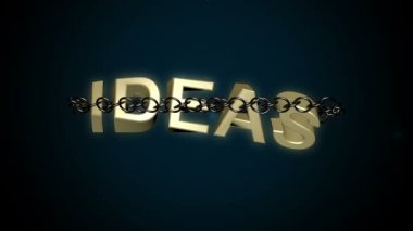 Chained Ideas text breaks free concept. — Stock Video