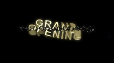 Chained Grand Opening text breaks free concept. — Stock Video