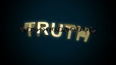 Truth text breaks free from chains — Stock Video