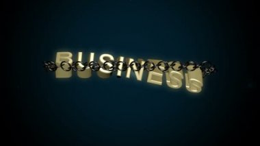 Chained Business text breaks free concept. — Stock Video