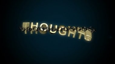 Thoughts text breaks chains — Stock Video