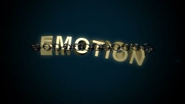 Emotion text breaks free from chains. — Stock Video