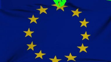 EU flag material ripped transition with green screen and alpha — Stock Video