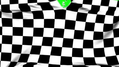 Chequered flag material ripped apart transition with green screen and alpha — Stock Video