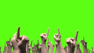 Lots of arms and fists punching the air with index fingers pointing loop against green — Stock Video