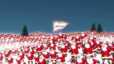 Hundreds of Santa characters dancing on a snowy mountain scene with the camera resting on a large flag with Happy Holidays text. — Stock Video