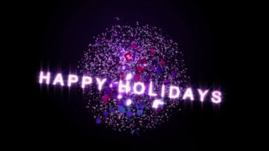 A Christmas Bauble swings and breaks apart revealing Happy Holidays text. Loop. — Stock Video
