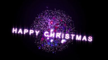 A Christmas Bauble swings and breaks apart revealing Merry Christmas text. Loop. — Stock Video