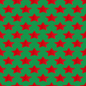 Seamless geometric background of the stars of the red stripes on the green — Stock Vector
