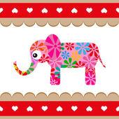 Мультипликационный вектор розовый слон. — Cтоковый вектор