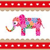 Cartoon vector pink elephant. — Stock Vector